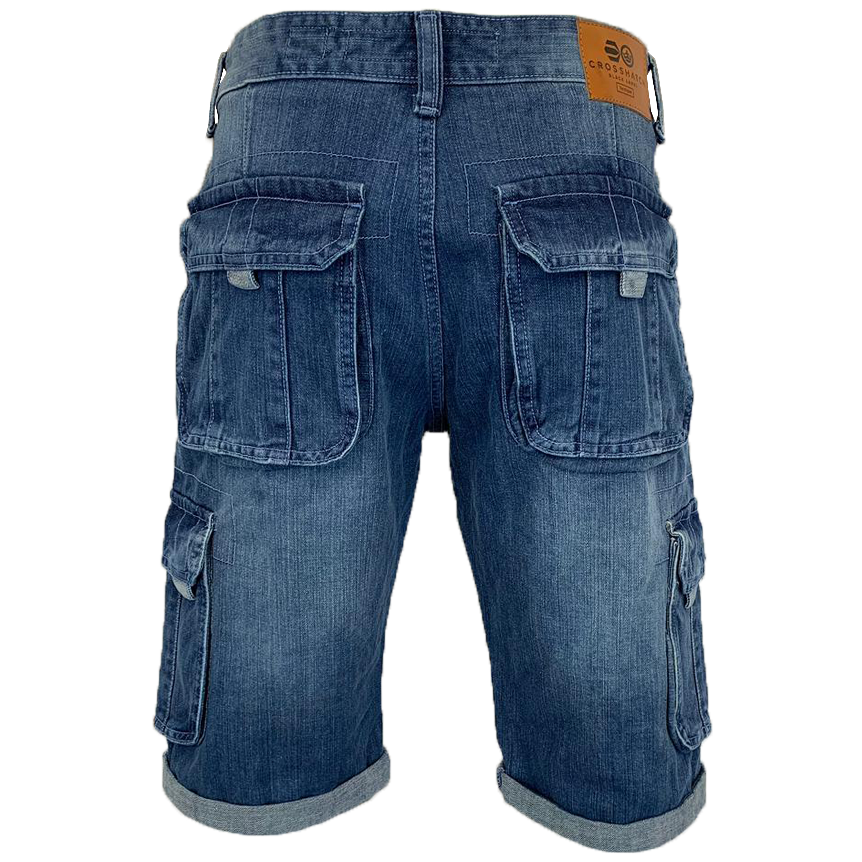 Mens-Crosshatch-Denim-Knee-Length-Combat-Shorts-Cargo-Casual-Fashion-Summer-New 縮圖 52