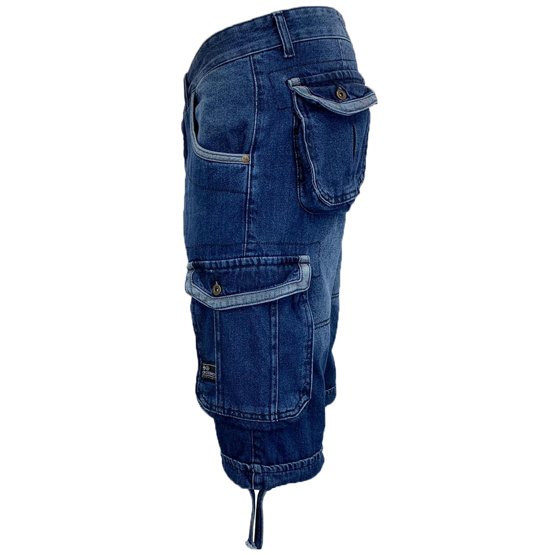Mens-Crosshatch-Denim-Knee-Length-Combat-Shorts-Cargo-Casual-Fashion-Summer-New 縮圖 58