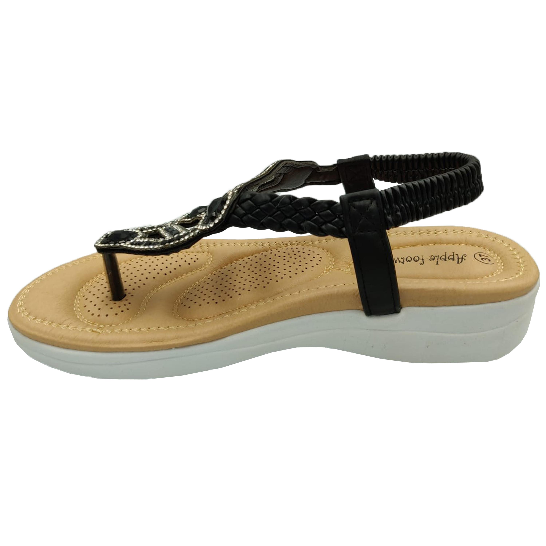 Ladies-Sandals-Apple-Womens-Diamante-Slip-On-Toe-Post-Shoes-Casual-Fashion-New thumbnail 3