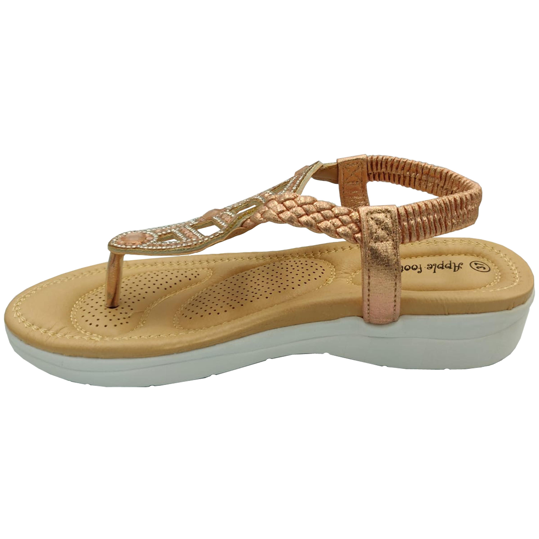 Ladies-Sandals-Apple-Womens-Diamante-Slip-On-Toe-Post-Shoes-Casual-Fashion-New thumbnail 7