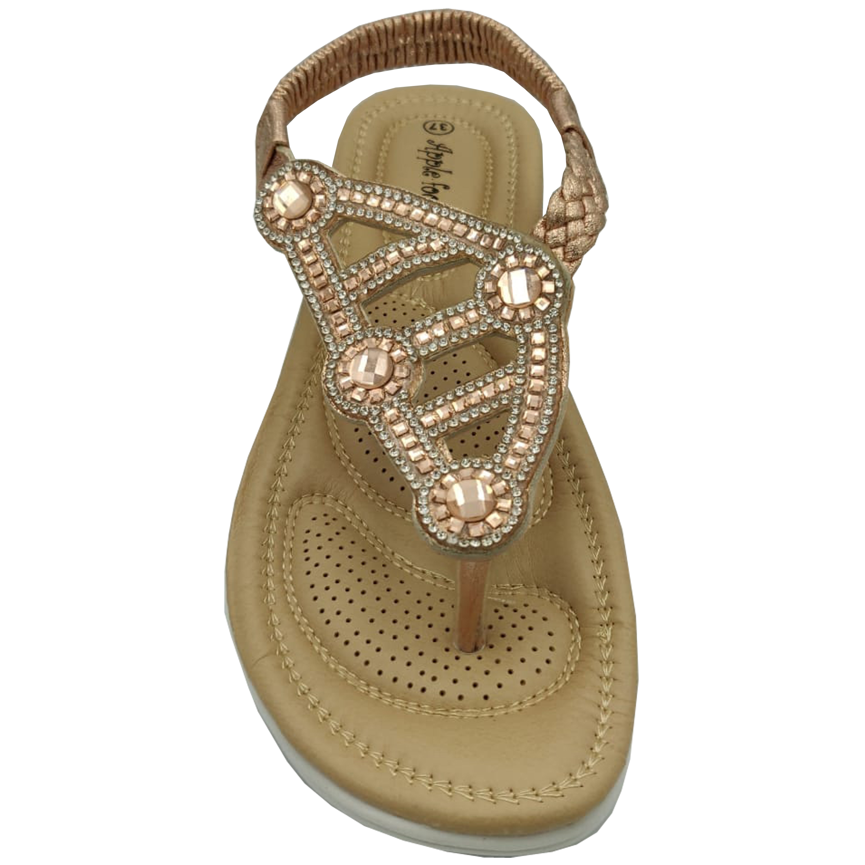 Ladies-Sandals-Apple-Womens-Diamante-Slip-On-Toe-Post-Shoes-Casual-Fashion-New thumbnail 8