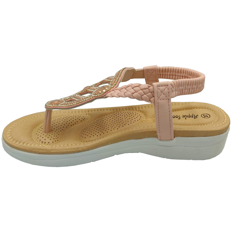 Ladies-Sandals-Apple-Womens-Diamante-Slip-On-Toe-Post-Shoes-Casual-Fashion-New thumbnail 11