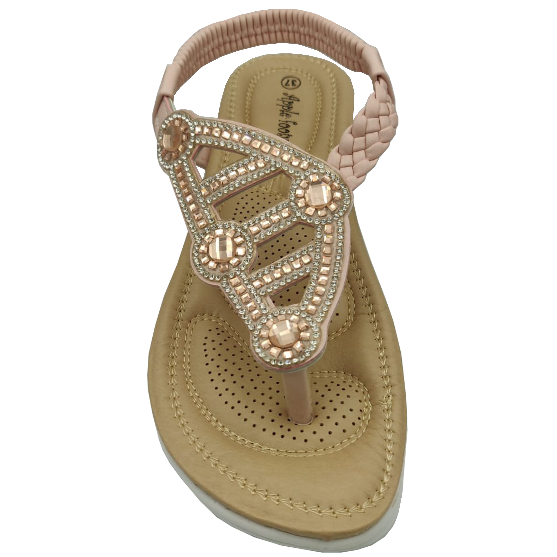Ladies-Sandals-Apple-Womens-Diamante-Slip-On-Toe-Post-Shoes-Casual-Fashion-New thumbnail 12