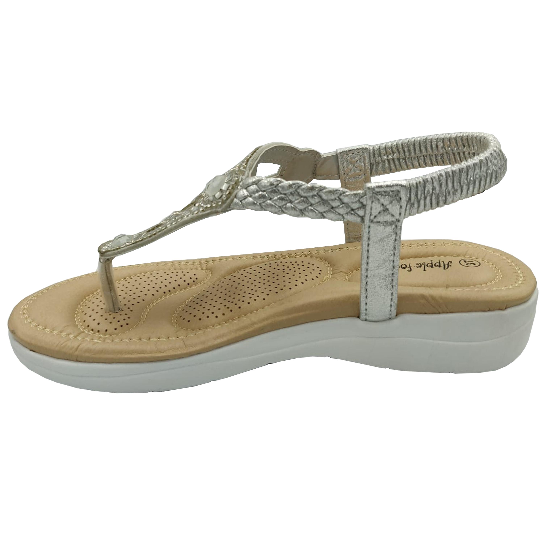 Ladies-Sandals-Apple-Womens-Diamante-Slip-On-Toe-Post-Shoes-Casual-Fashion-New thumbnail 15