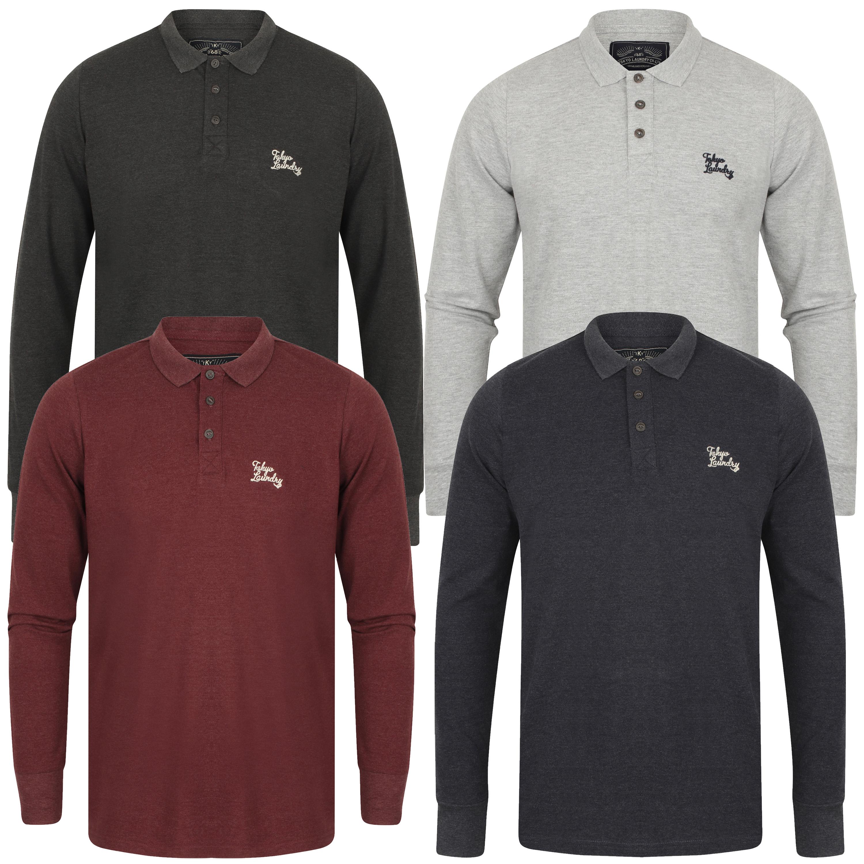 POLO-a-maniche-lunghe-da-uomo-T-shirt-Tokyo-Laundry-COSENZA-Jersey-Polo-In-Golf-Top-Nuovo miniatura 4