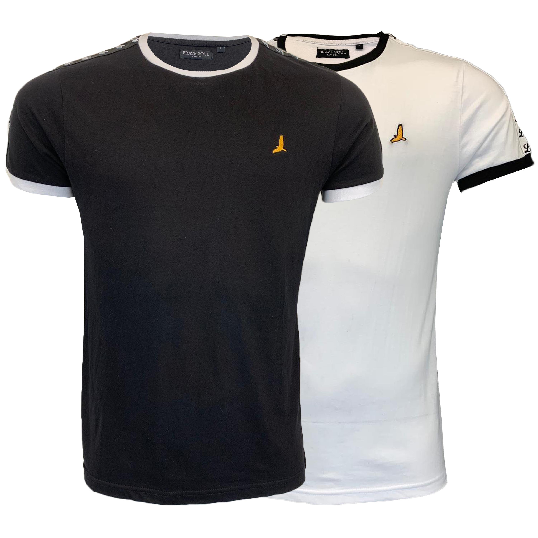Mens-T-Shirt-Brave-Soul-Short-Sleeved-Broken-Standard-Crew-Neck-Plain-Summer-New thumbnail 7