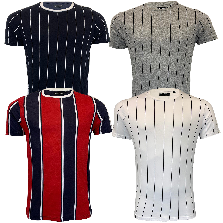 c0792445df Mens Striped T Shirt Brave Soul Short Sleeved STOBART Crew Neck ...