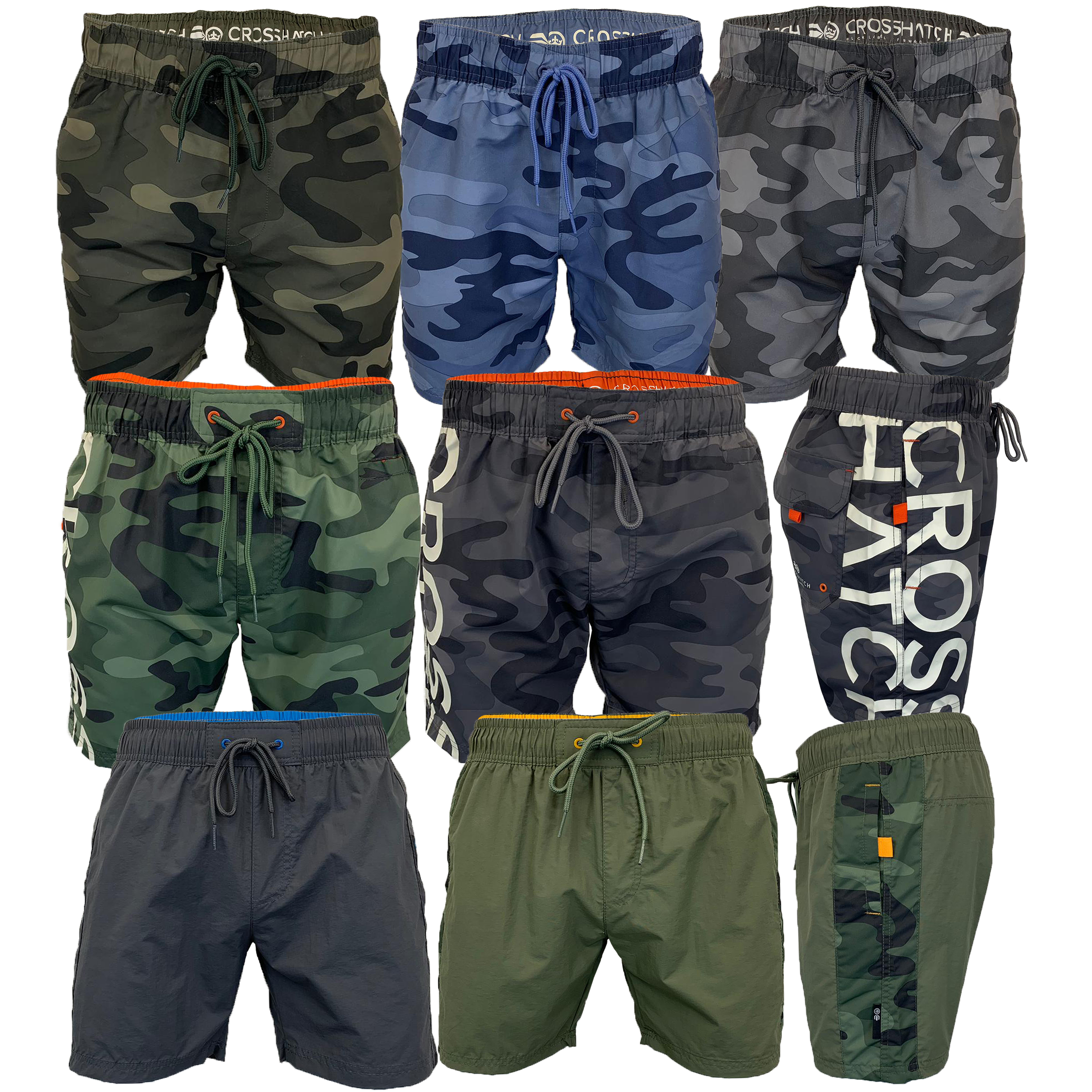 Mens-Camouflage-Swim-Shorts-Crosshatch-Army-Military-Knee-Length-Casual-Summer thumbnail 4