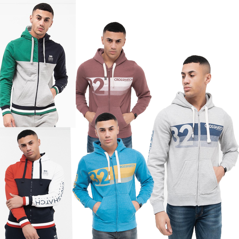 Mens-Sweatshirt-Crosshatch-Over-The-Head-Hoodie-Printed-Zip-Top-Fleece-Lined-New thumbnail 5
