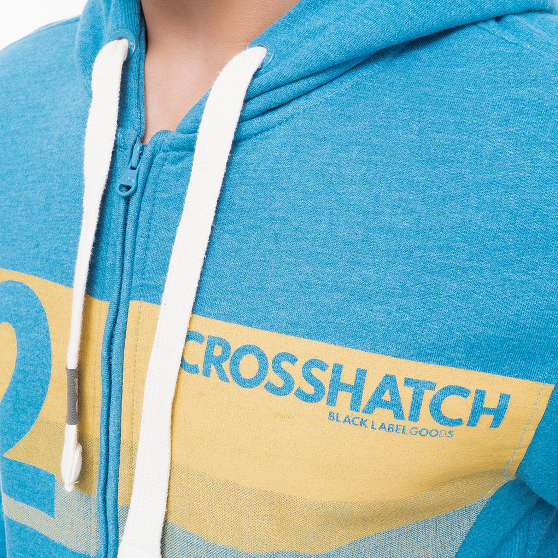 Mens-Sweatshirt-Crosshatch-Over-The-Head-Hoodie-Printed-Zip-Top-Fleece-Lined-New thumbnail 3