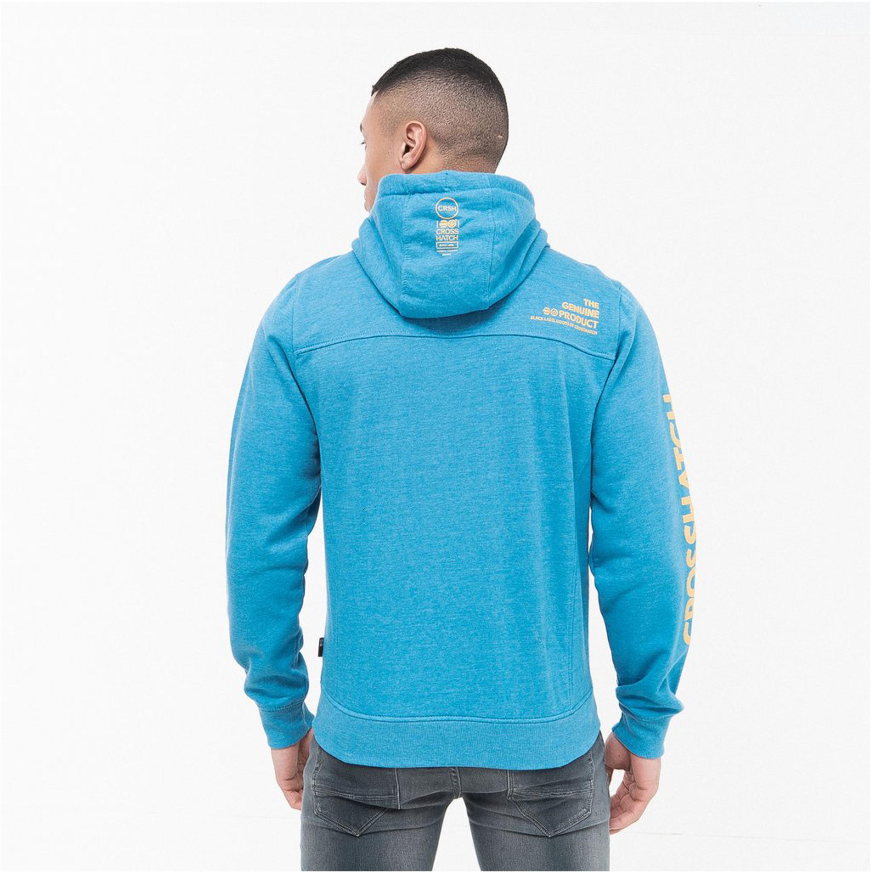 Mens-Sweatshirt-Crosshatch-Over-The-Head-Hoodie-Printed-Zip-Top-Fleece-Lined-New thumbnail 4
