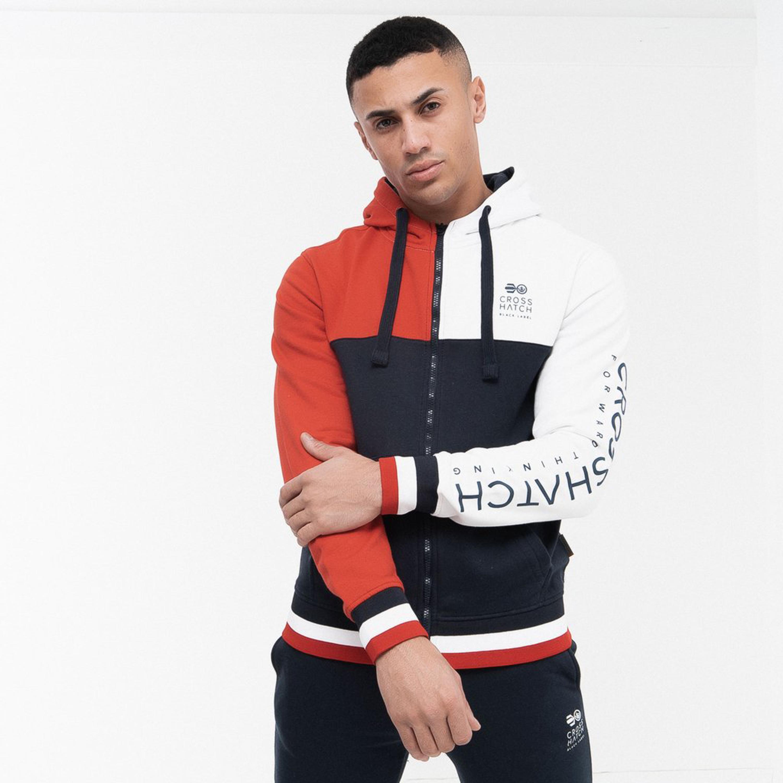 Mens-Sweatshirt-Crosshatch-Over-The-Head-Hoodie-Printed-Zip-Top-Fleece-Lined-New thumbnail 14