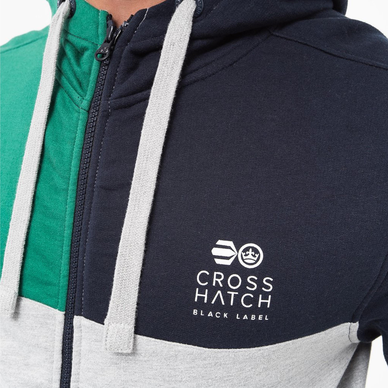 Mens-Sweatshirt-Crosshatch-Over-The-Head-Hoodie-Printed-Zip-Top-Fleece-Lined-New thumbnail 11