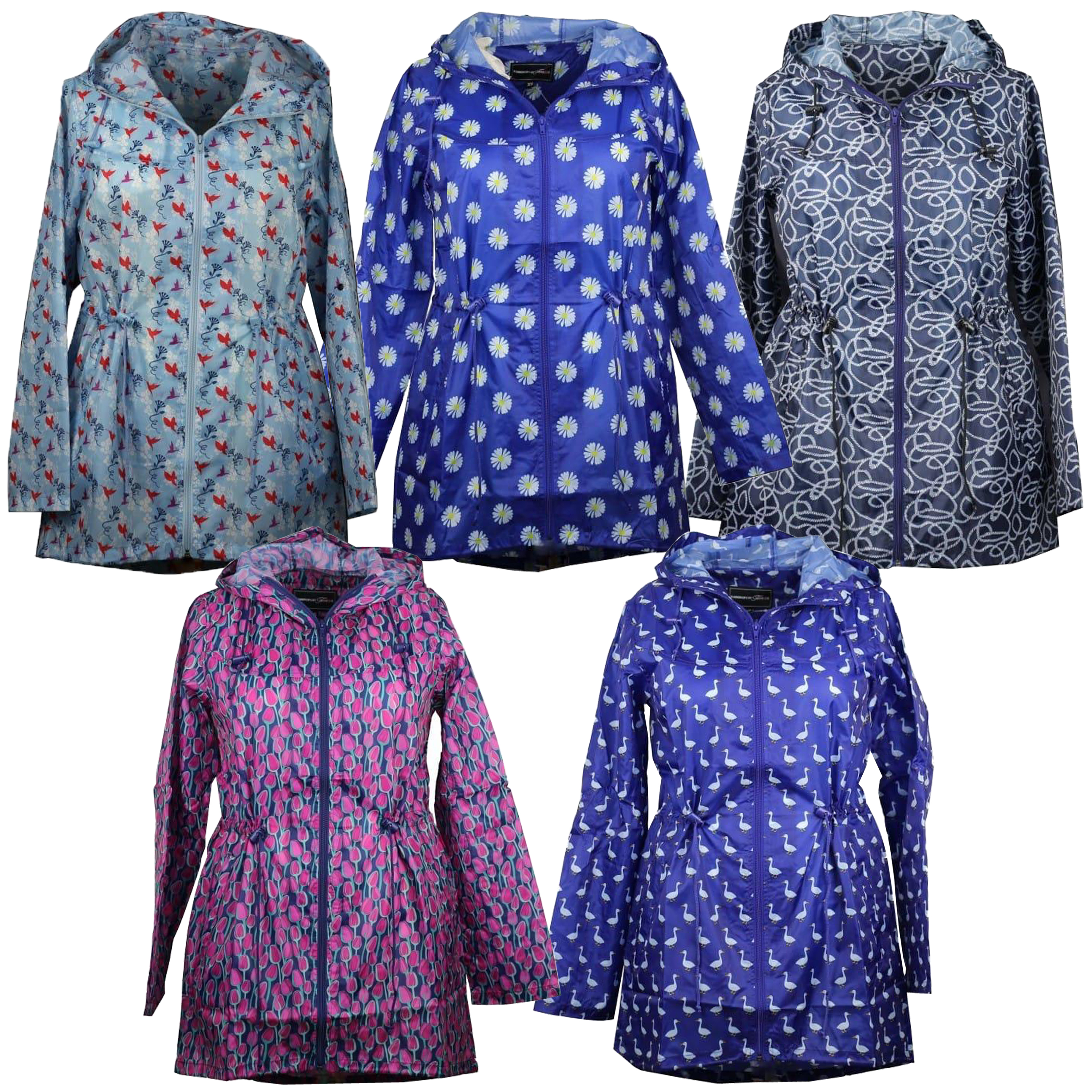 70f7d9143 Details about Ladies Parka Kagool Jacket Womens Cagoule Rain Printed Hooded  Fish Tail Trench