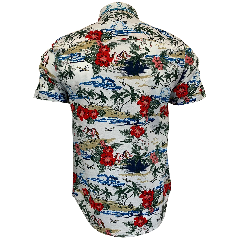 Camicia hawaiana Mens floreale da Coraggioso Anima Maniche corte