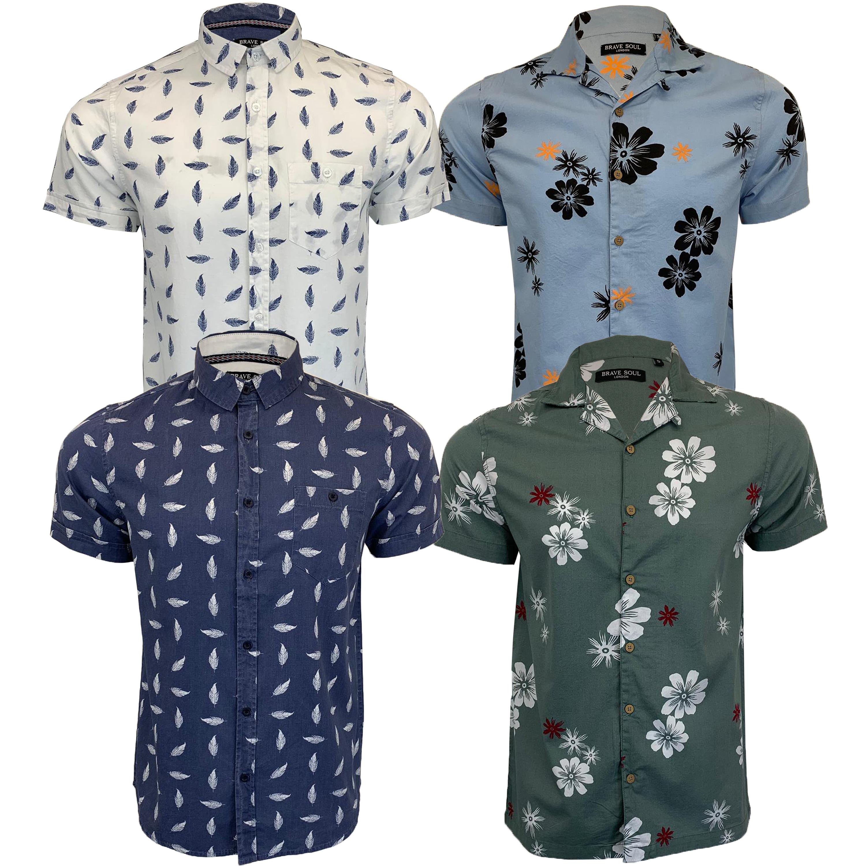 fotos nuevas muchos estilos mejor precio Detalles de Hombre Algodón Floral Camisa brave soul Flores Hoja Estampado  Manga Corta Playa