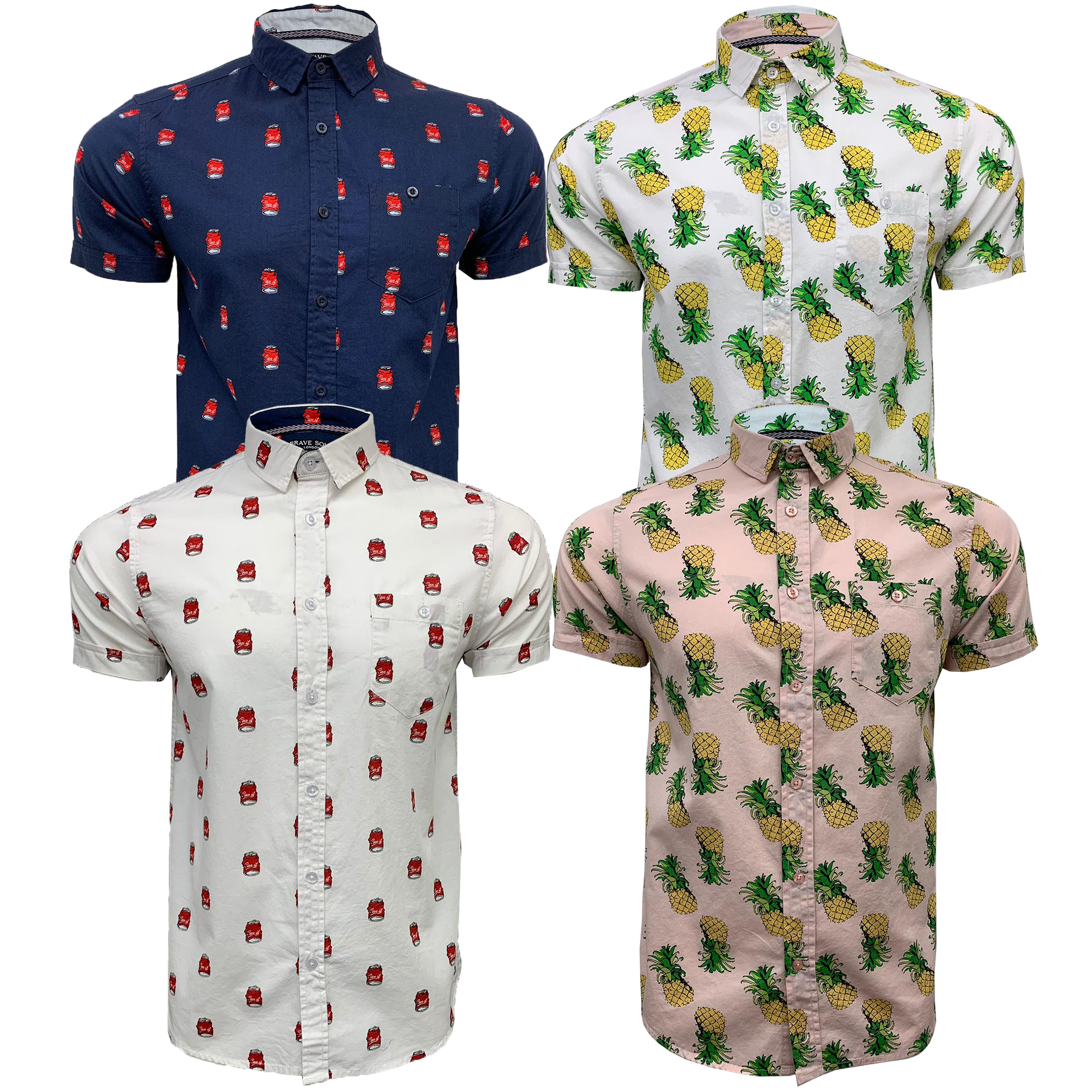 Mens-Cotton-Shirt-Brave-Soul-Pineapple-Can-Printed-Short-Sleeved-Casual-Summer thumbnail 4