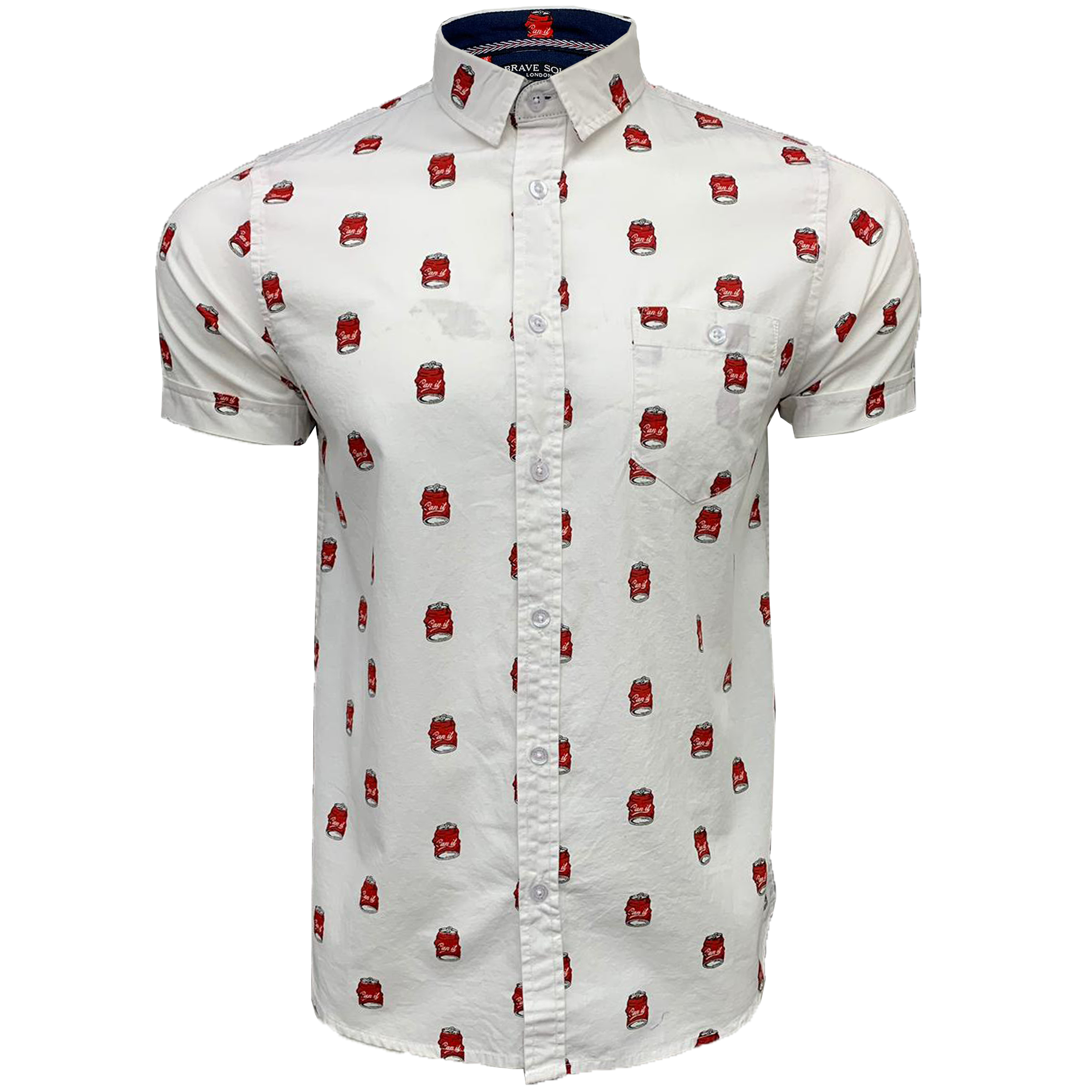 Mens-Cotton-Shirt-Brave-Soul-Pineapple-Can-Printed-Short-Sleeved-Casual-Summer thumbnail 11