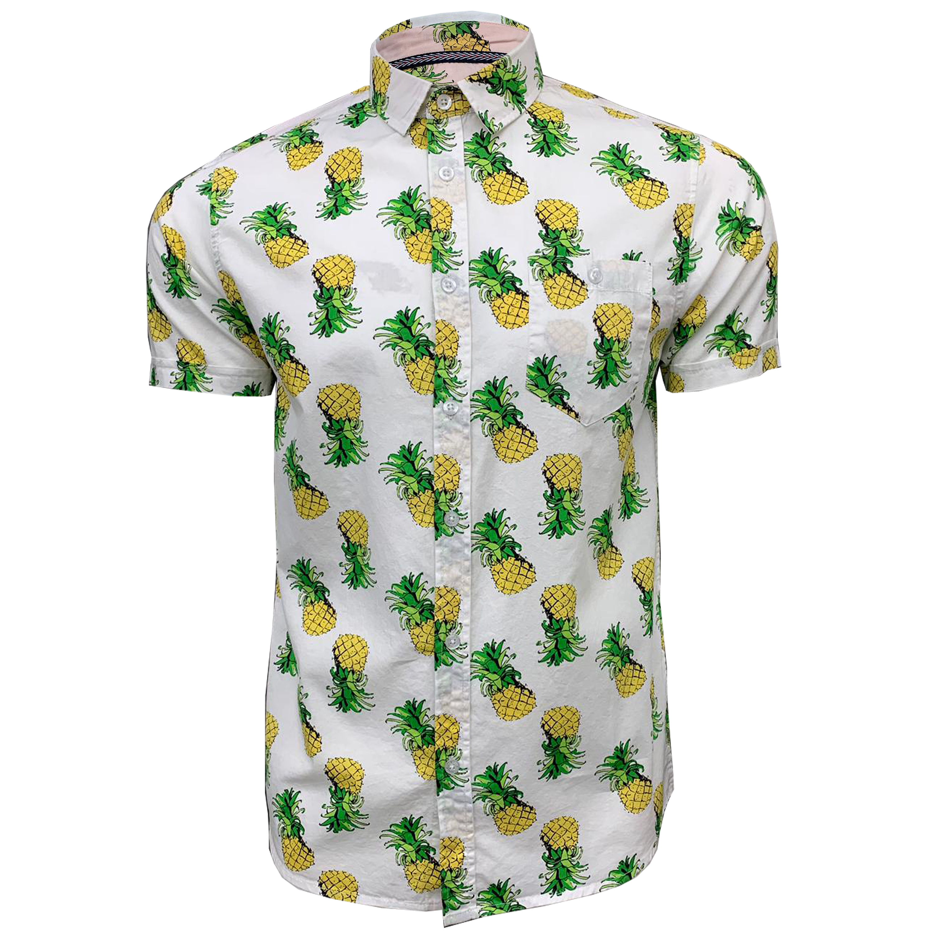 Mens-Cotton-Shirt-Brave-Soul-Pineapple-Can-Printed-Short-Sleeved-Casual-Summer thumbnail 5