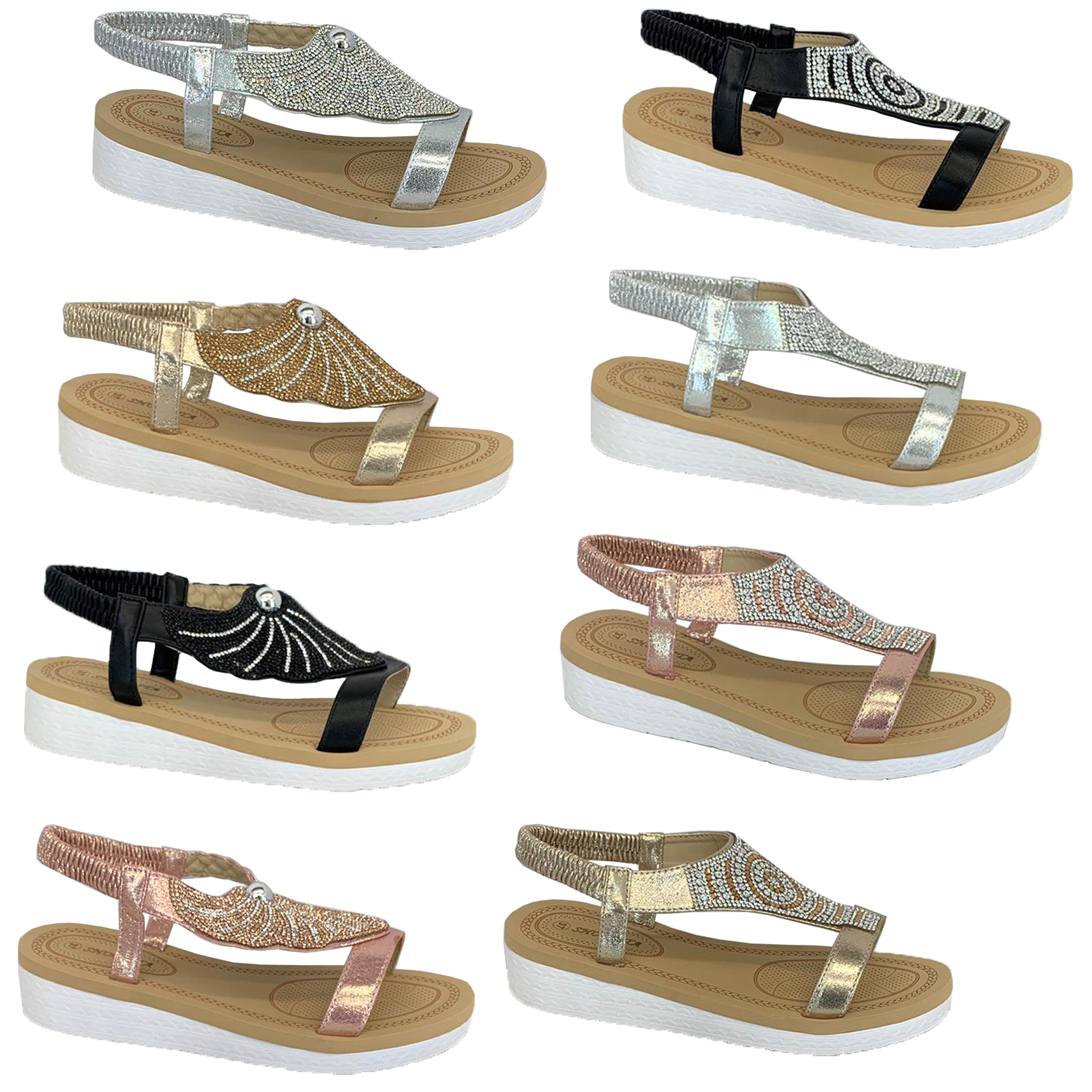 Ladies-Sandals-Womens-Diamante-Sling-Back-Open-Toe-Shoes-Fashion-Summer-New thumbnail 3
