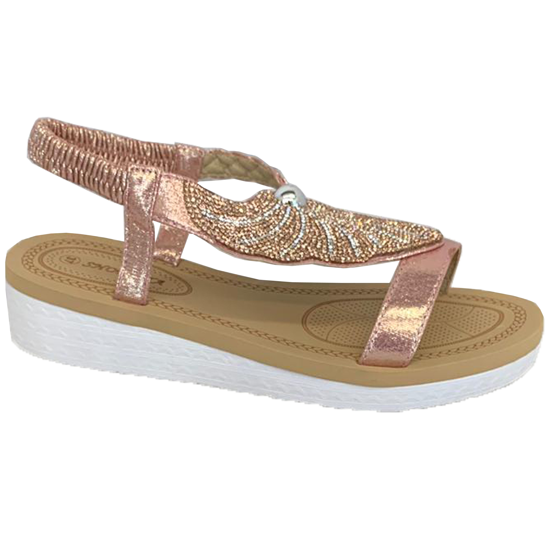 Ladies-Sandals-Womens-Diamante-Sling-Back-Open-Toe-Shoes-Fashion-Summer-New thumbnail 7