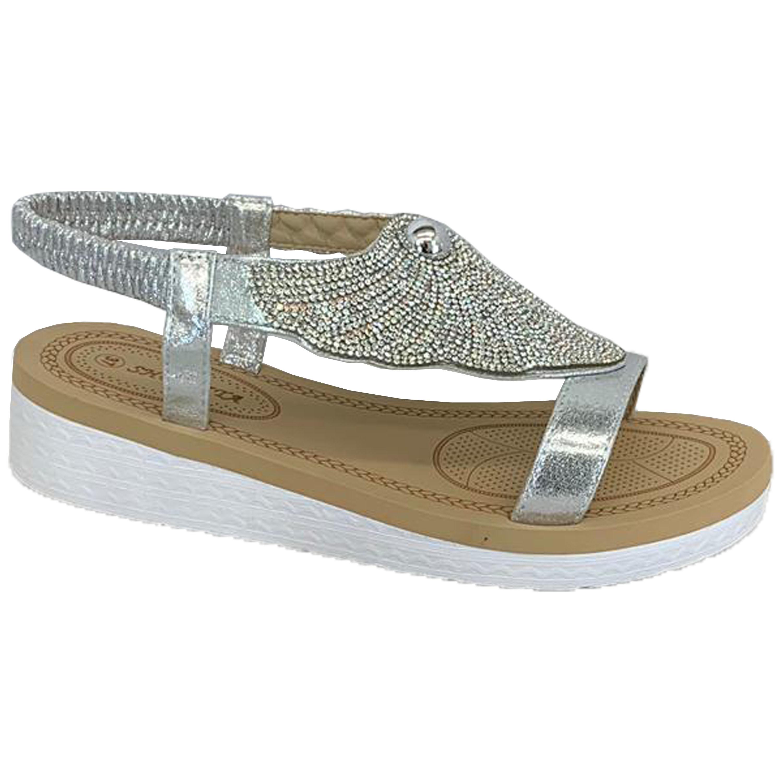 Ladies-Sandals-Womens-Diamante-Sling-Back-Open-Toe-Shoes-Fashion-Summer-New thumbnail 21