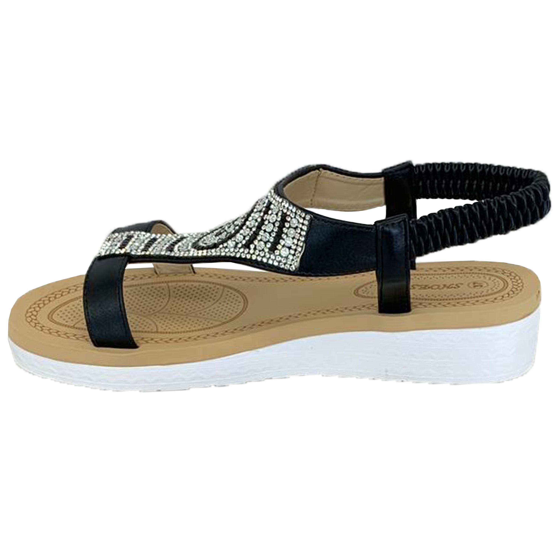 Ladies-Sandals-Womens-Diamante-Sling-Back-Open-Toe-Shoes-Fashion-Summer-New thumbnail 5
