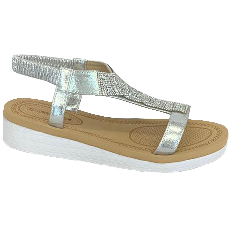 Ladies-Sandals-Womens-Diamante-Sling-Back-Open-Toe-Shoes-Fashion-Summer-New thumbnail 25