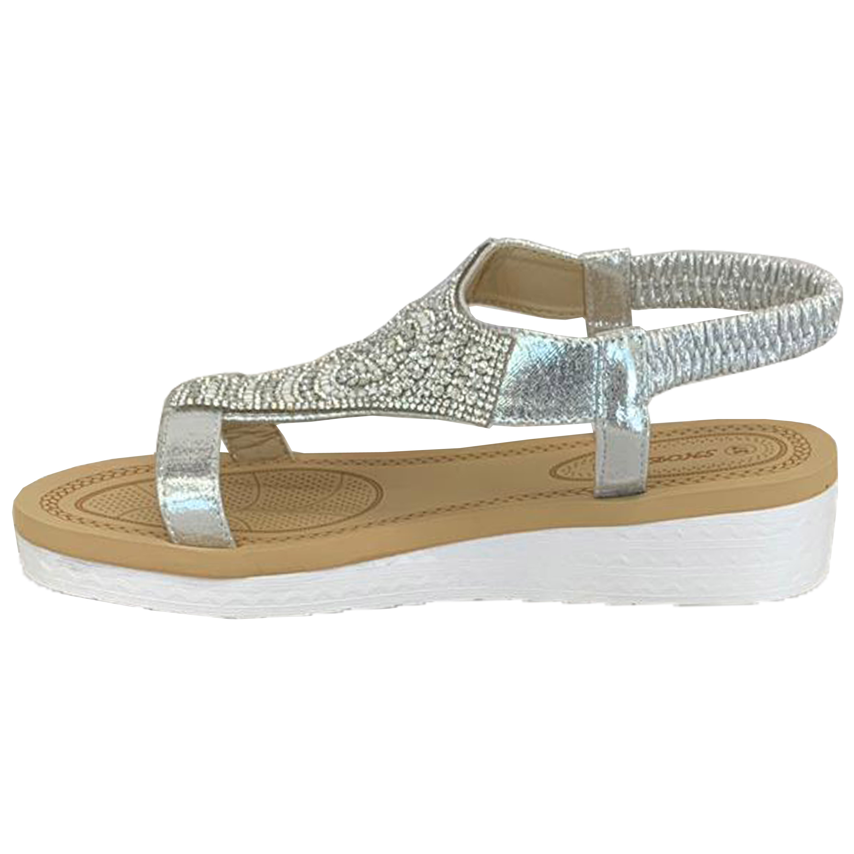 Ladies-Sandals-Womens-Diamante-Sling-Back-Open-Toe-Shoes-Fashion-Summer-New thumbnail 26