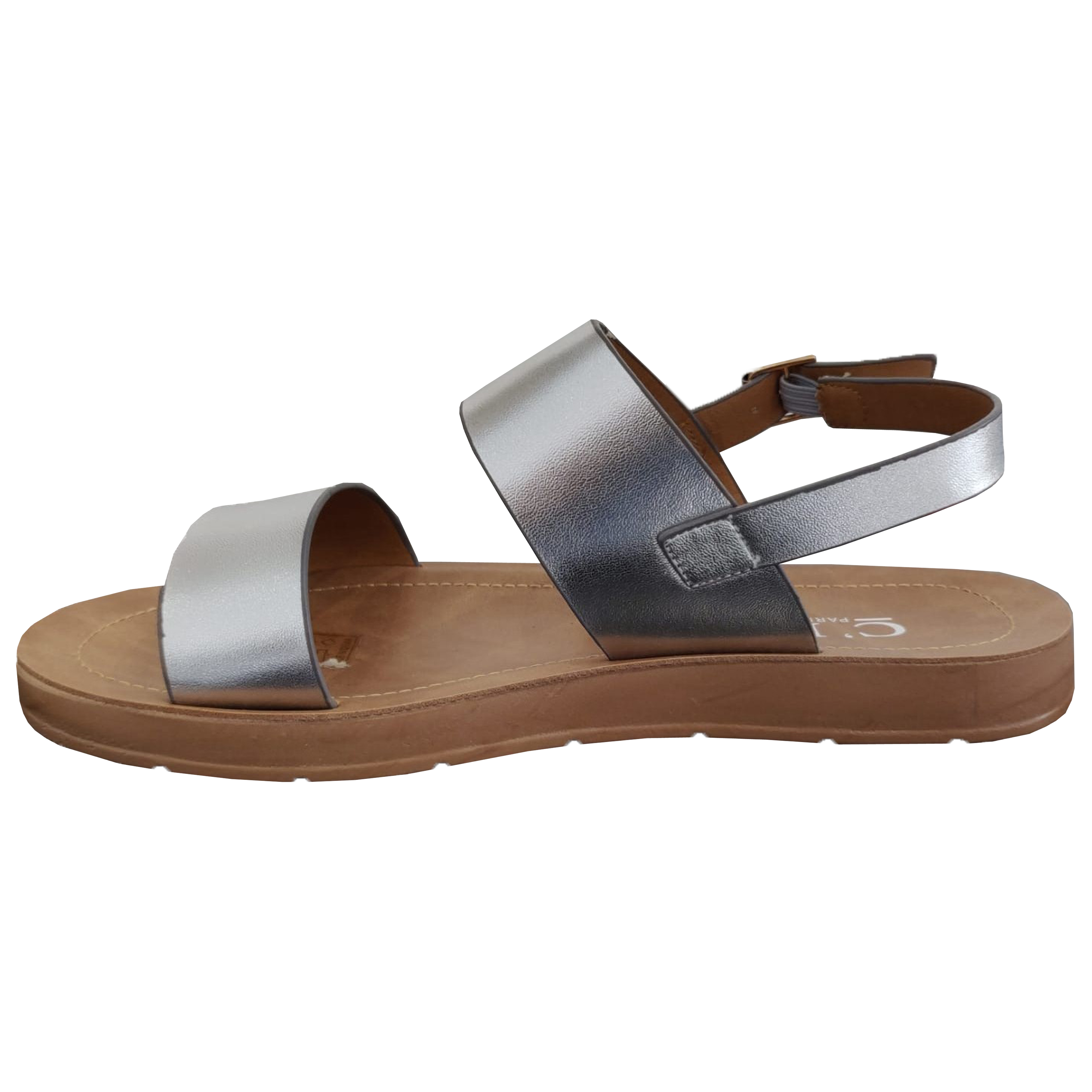 Ladies Flat Sandals Womens Open Toe Buckle Double Strap Casual Fashion Summer
