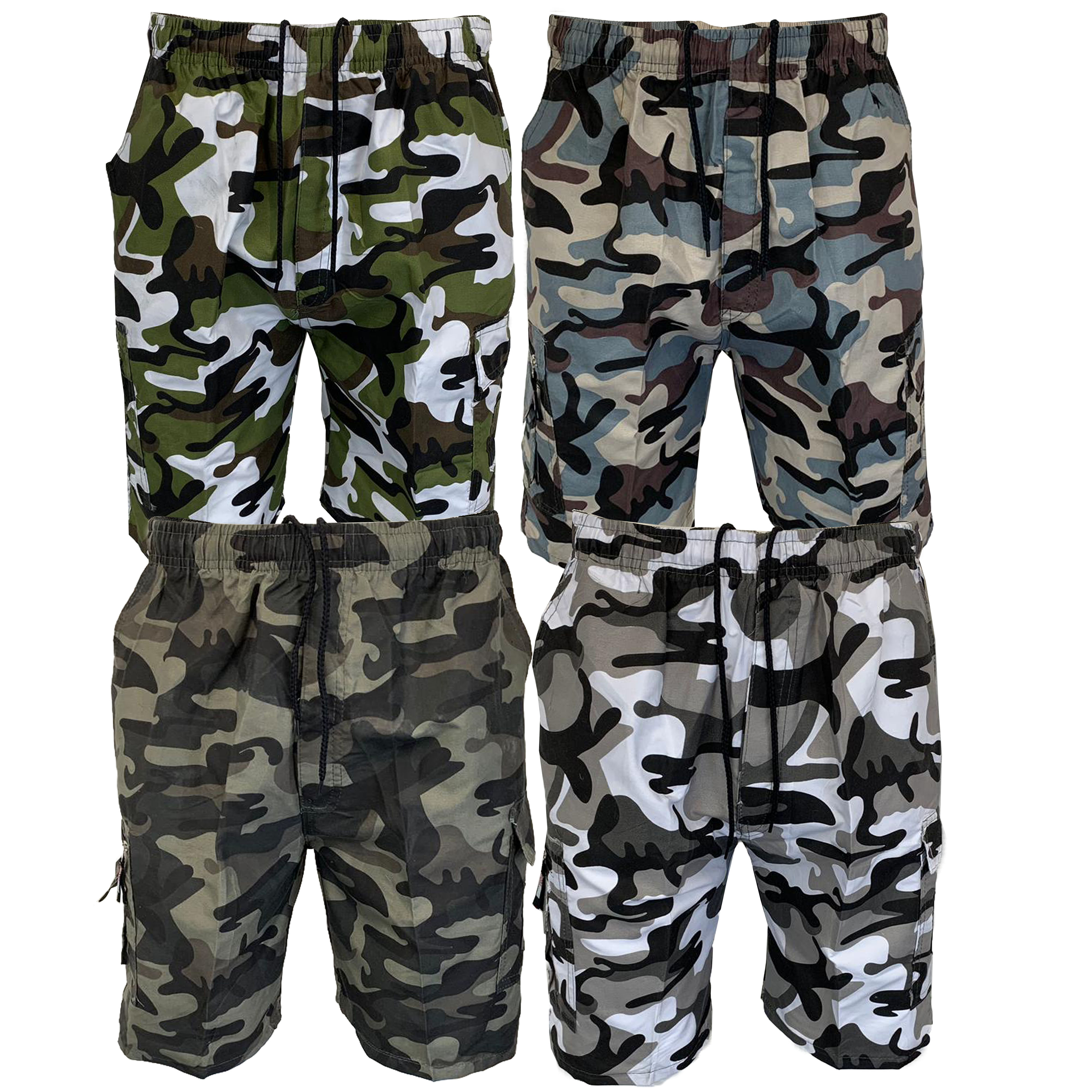 01ffd67019 Mens Camouflage Combat Cargo Shorts Knee Length Army Military Sports ...