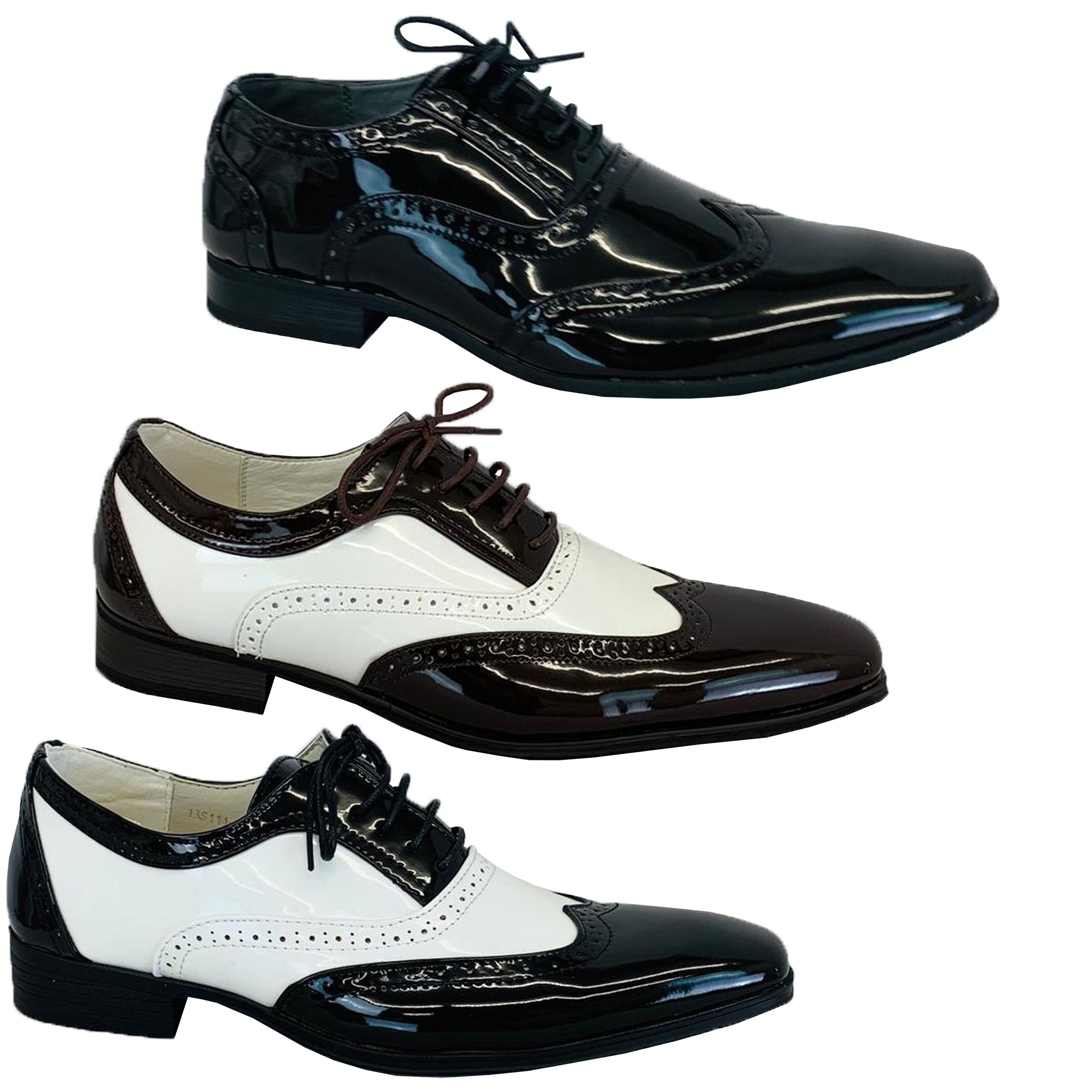 823c6f04348 Mens Italian Shoes Brogue Formal Two Tone Lace Up Patent Casual ...