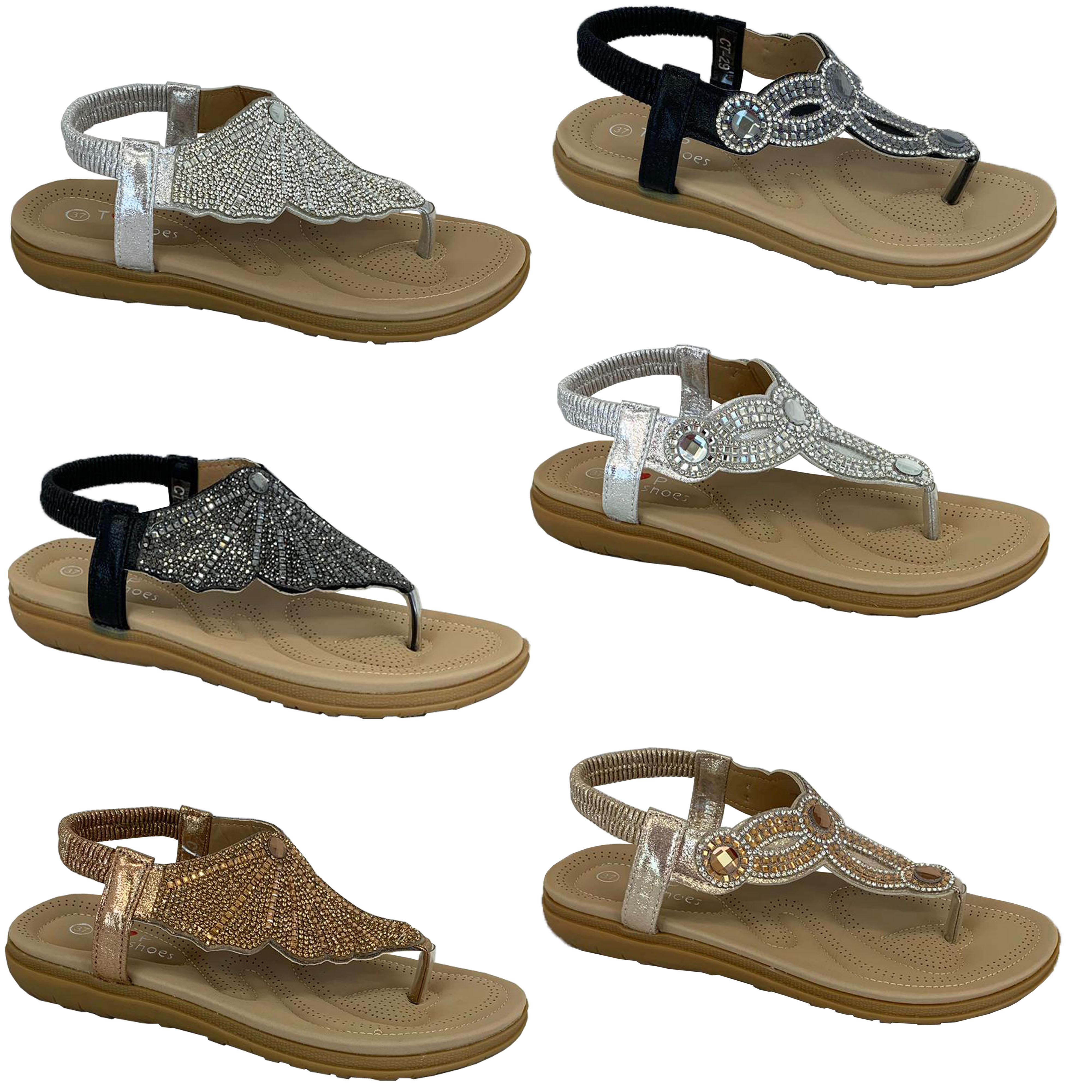 Ladies-Flat-Sandals-Womens-Diamante-Sling-Back-Toe-Post-Shoes-Summer-Fashion-New thumbnail 4