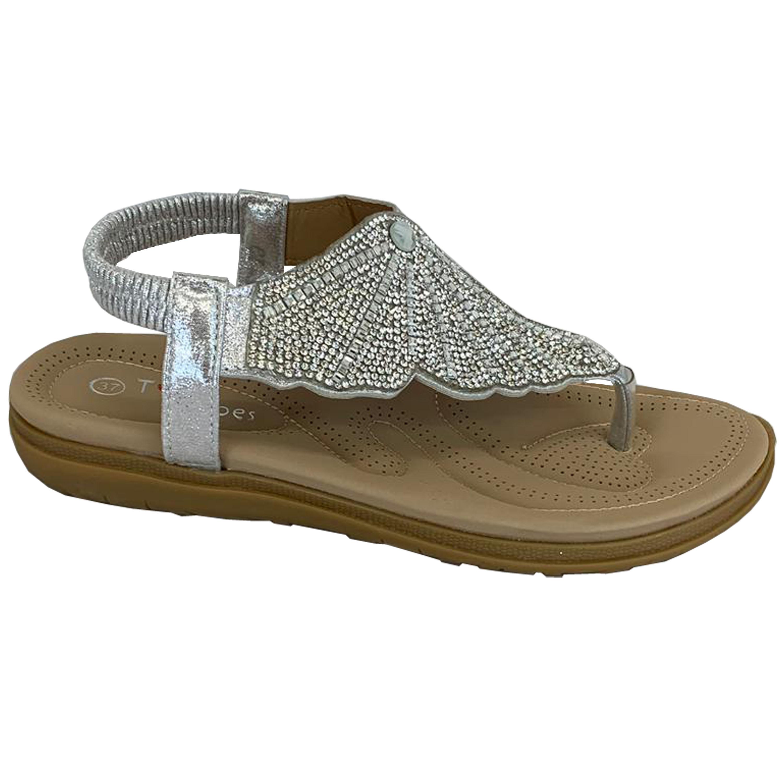 Ladies-Flat-Sandals-Womens-Diamante-Sling-Back-Toe-Post-Shoes-Summer-Fashion-New thumbnail 17