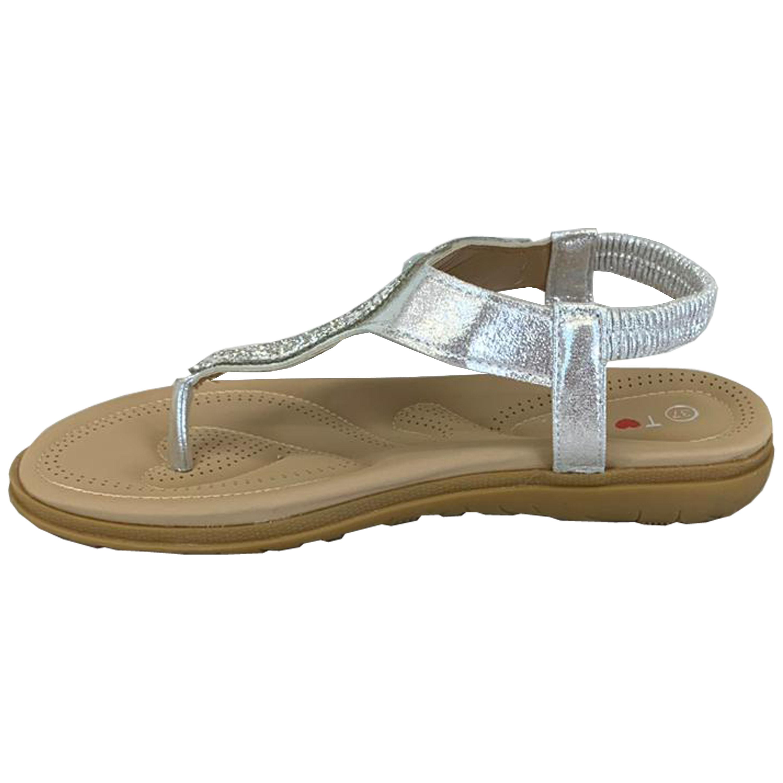 Ladies-Flat-Sandals-Womens-Diamante-Sling-Back-Toe-Post-Shoes-Summer-Fashion-New thumbnail 18
