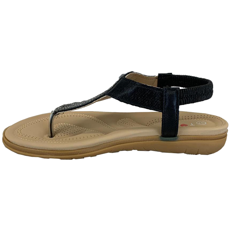 Ladies-Flat-Sandals-Womens-Diamante-Sling-Back-Toe-Post-Shoes-Summer-Fashion-New thumbnail 3