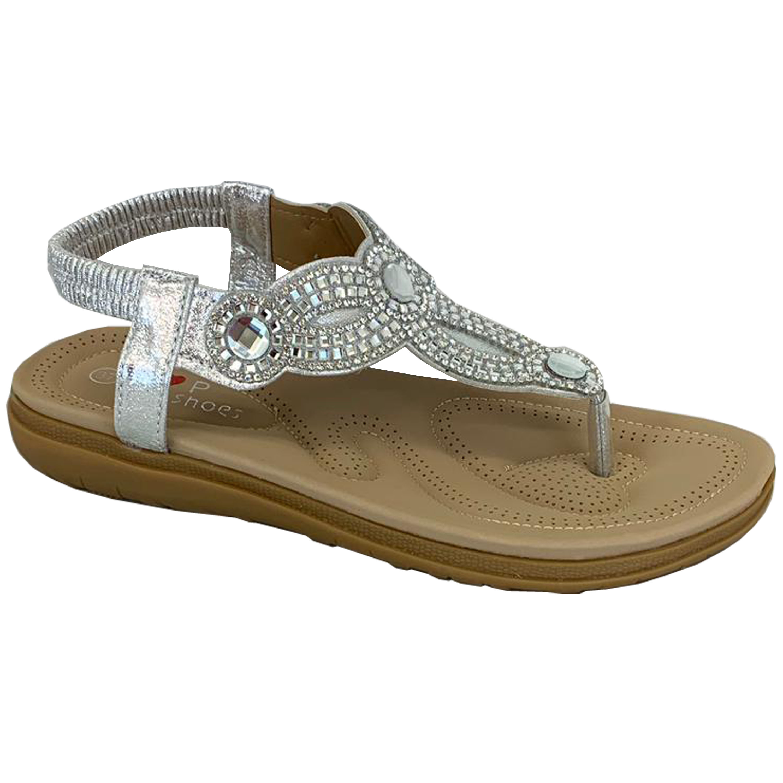 Ladies-Flat-Sandals-Womens-Diamante-Sling-Back-Toe-Post-Shoes-Summer-Fashion-New thumbnail 13