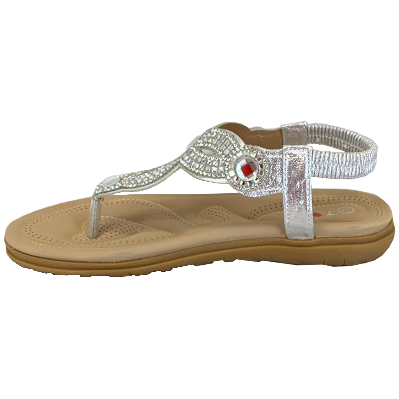 Ladies-Flat-Sandals-Womens-Diamante-Sling-Back-Toe-Post-Shoes-Summer-Fashion-New thumbnail 14
