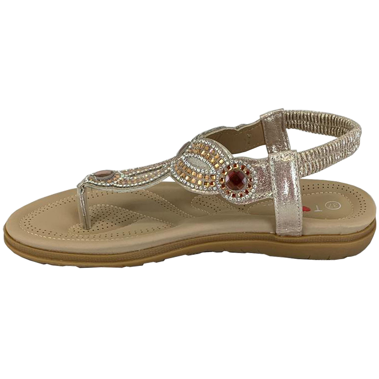 Ladies-Flat-Sandals-Womens-Diamante-Sling-Back-Toe-Post-Shoes-Summer-Fashion-New thumbnail 10