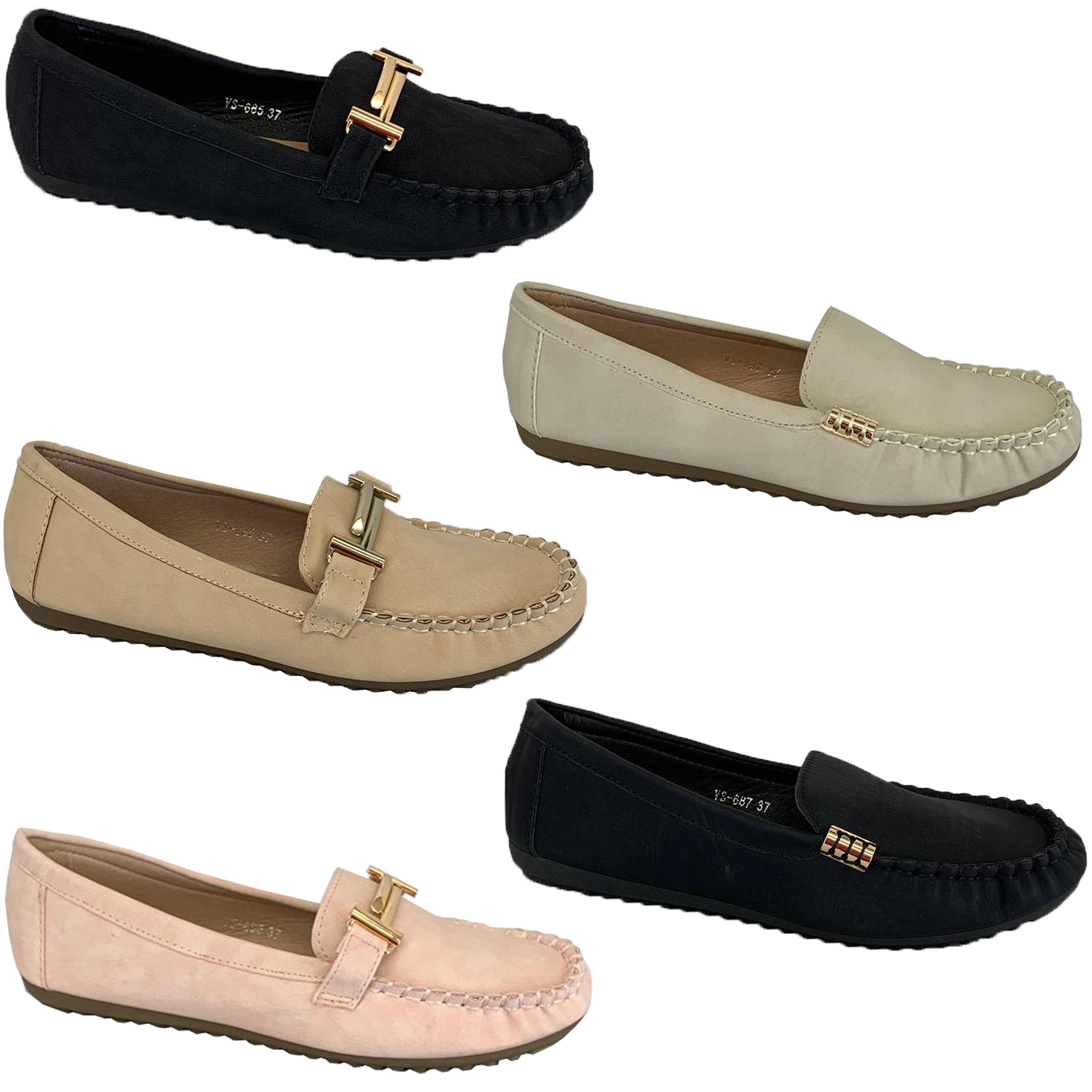 Ladies Moccasins Slip On Shoes