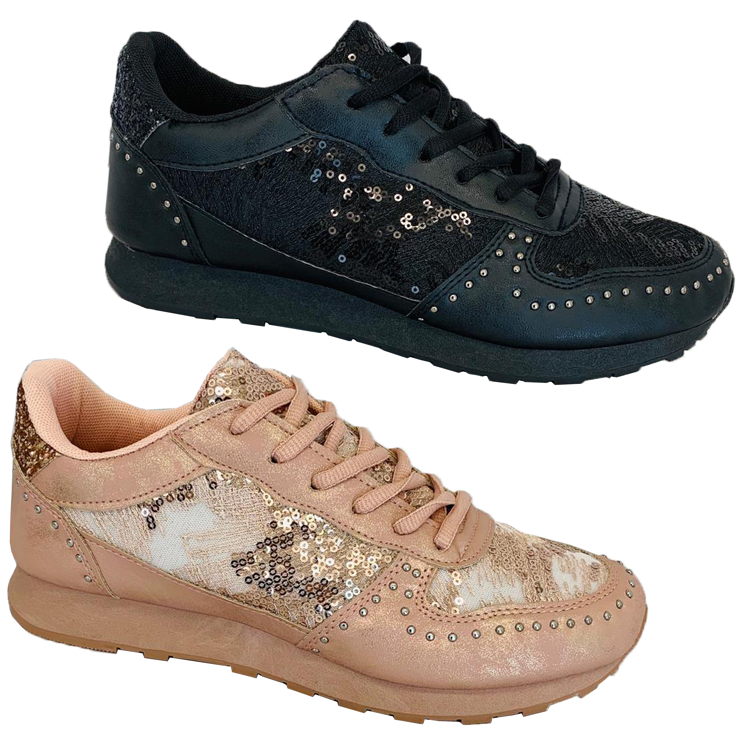 Ladies Trainers Womens Lace Up Sequin Studs Running Gym Fashion Sneaker Shoes