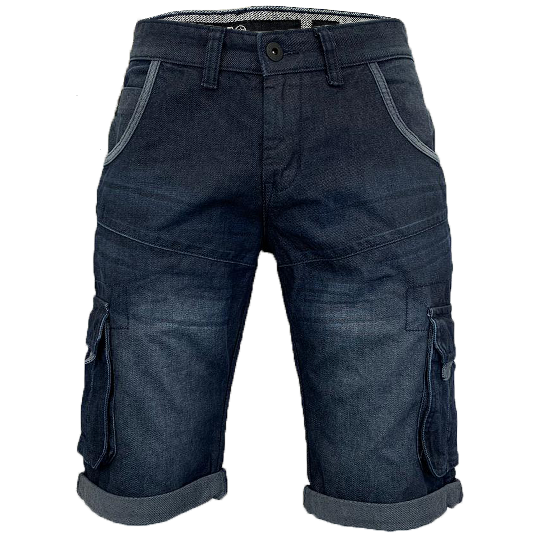 Mens-Crosshatch-Denim-Knee-Length-Combat-Shorts-Cargo-Casual-Fashion-Summer-New 縮圖 14