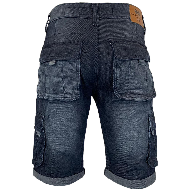 Mens-Crosshatch-Denim-Knee-Length-Combat-Shorts-Cargo-Casual-Fashion-Summer-New 縮圖 15