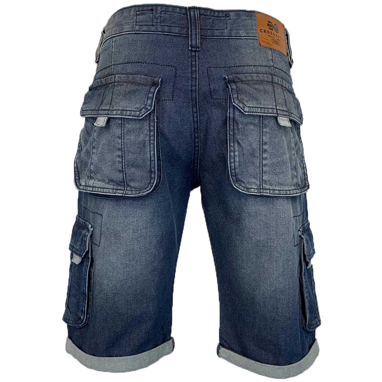 Mens-Crosshatch-Denim-Knee-Length-Combat-Shorts-Cargo-Casual-Fashion-Summer-New 縮圖 32