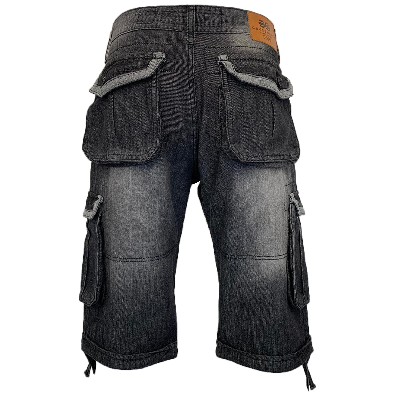 Mens-Crosshatch-Denim-Knee-Length-Combat-Shorts-Cargo-Casual-Fashion-Summer-New 縮圖 6