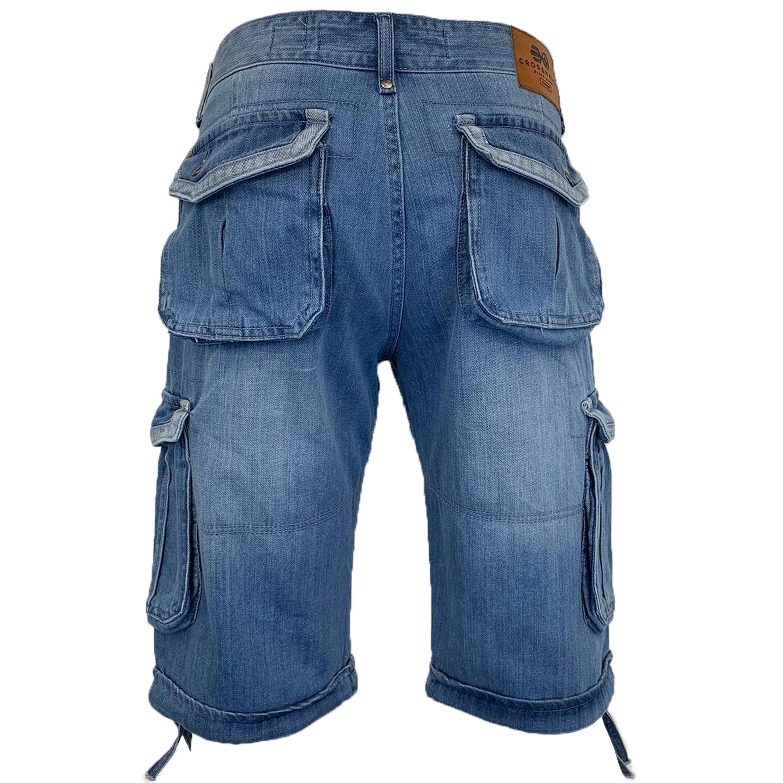 Mens-Crosshatch-Denim-Knee-Length-Combat-Shorts-Cargo-Casual-Fashion-Summer-New 縮圖 41