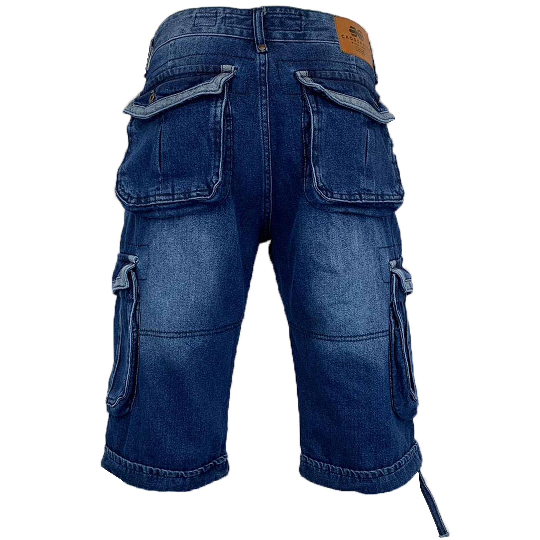 Mens-Crosshatch-Denim-Knee-Length-Combat-Shorts-Cargo-Casual-Fashion-Summer-New 縮圖 63
