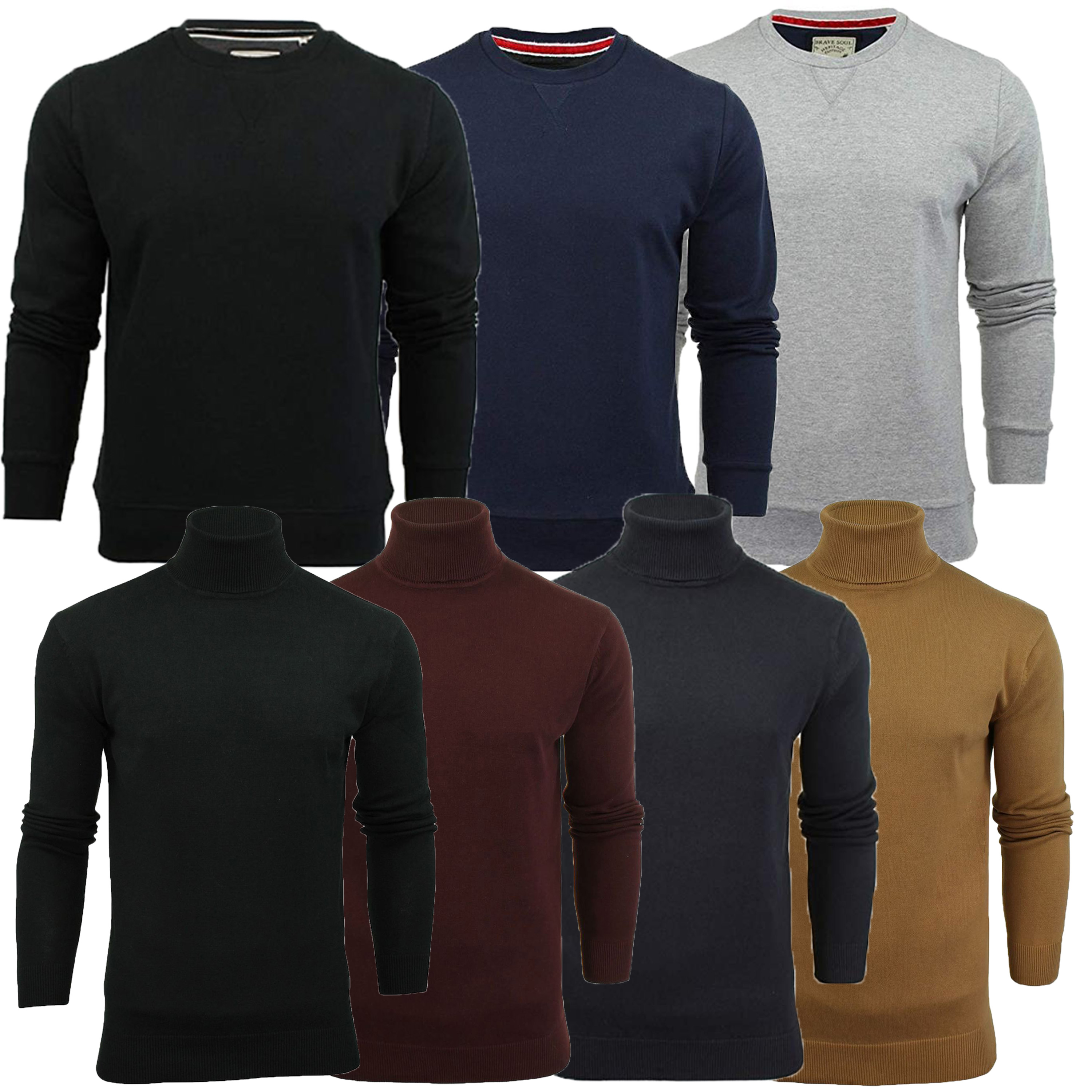 Mens-Brave-Soul-HUME-Roll-Neck-Polo-Light-Cotton-Knitwear-Jumper-Sweater-Winter thumbnail 4
