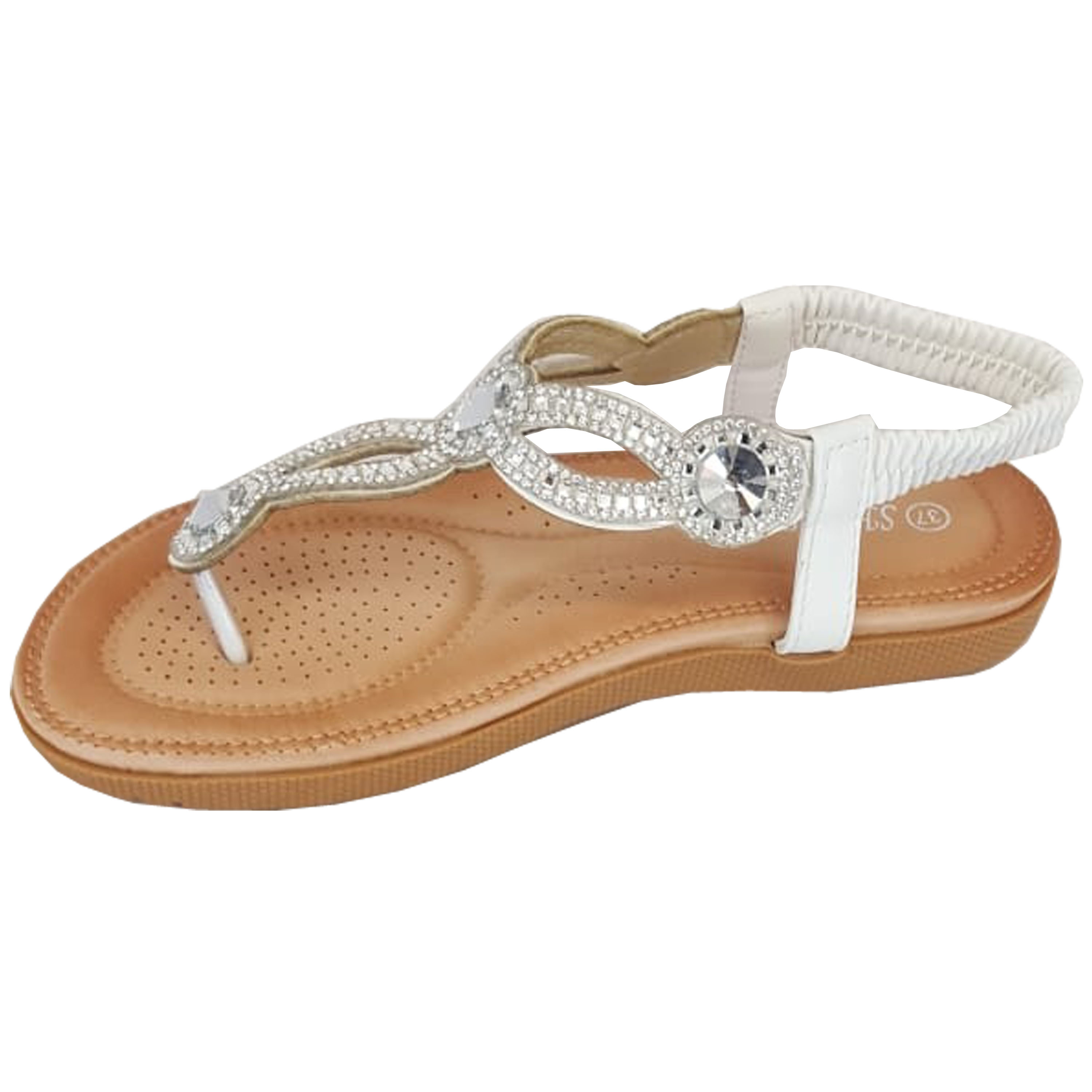 Ladies-Sandals-Womens-Diamante-Sling-Back-Open-Toe-Post-Shoes-Fashion-Summer-New thumbnail 20