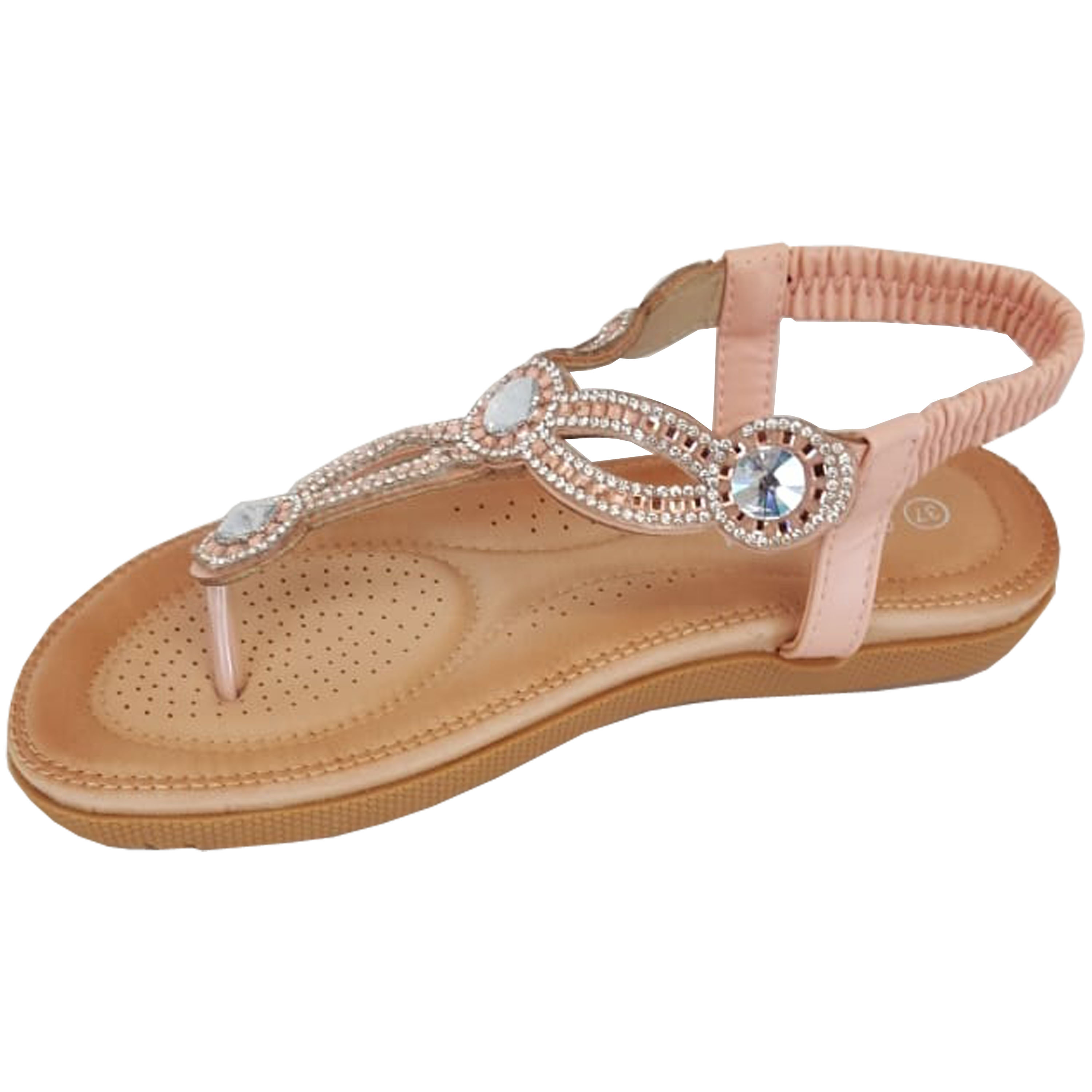 Ladies-Sandals-Womens-Diamante-Sling-Back-Open-Toe-Post-Shoes-Fashion-Summer-New thumbnail 13